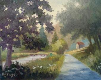 """Blue Ridge Landscape... Blue Ridge Mountains along the New River... Original painting by Rosage... 6x8"""""""