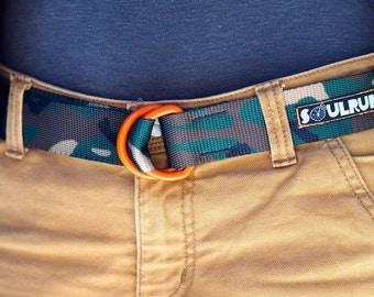 Fat Nylon Belt with Orange Powder Coat D-Rings - Woodland Camo