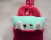 Tooth Pillow | Pink and Aqua Blue Tooth Monster | Tooth Fairy Monster Pillow