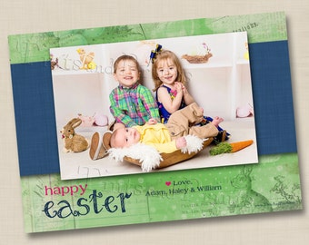 Vintage Happy Easter Custom Photo Card or Invitation or Birth Announcement Design