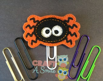 Planner Clip - Halloween Orange Spider Feltie Page Marker (Bookmark) For Personal Planners, Calendars, Cookbooks, etc.