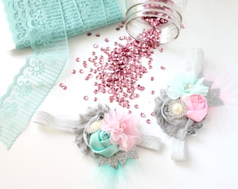 When Sparkles Fly aqua mint pink and silver sparkle ruffle and rosette  headband