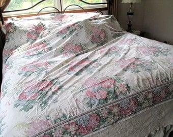 Vintage Queen Flat Sheet by Wamsutta, Floral Sheet
