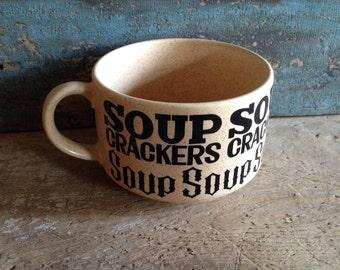 Soup and Crackers Stoneware Cup Soup Mug Vintage Japan Brown