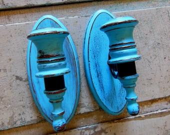 Set of 2 Turquoise Wall Sconces Wooden Distressed