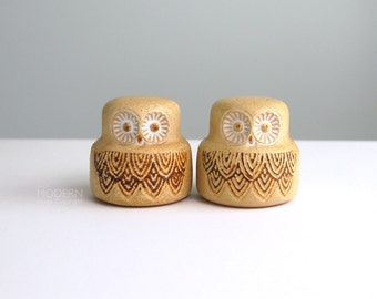 Vintage Pottery Craft Owl Stoneware Salt Pepper Shakers