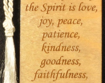 Wood Scripture Bookmark - Galatians 5:22-23