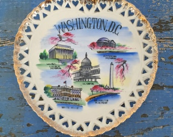 Vintage Souvenir Plate Washington DC Heart Shape Plate