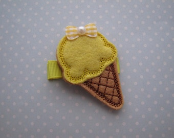 Ice Cream . feltie clip . girls hair accessory . yellow