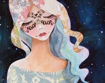 Giclee Fine Art Archival Print ~ Masquerade ~ Mixed Media Art ~ By Kim Costello