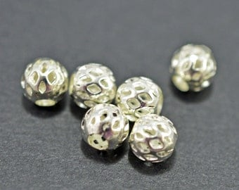 Silver plated filigree round beads, 7mm - #1919