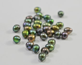 Iridescent olive pearls, 5mm - #1572