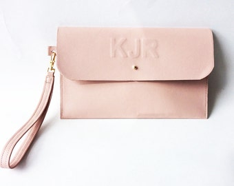 Bridal Clutch Personalised Leather Embossed Nude Beige Blush Leather Minimal Custom Purse Handbag Wedding Pouch Bridesmaid, Evening Bag