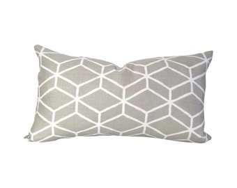 Graphic Lumbar Pillow Cover, in Beige + White