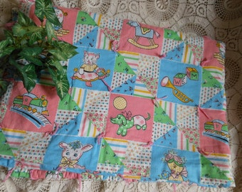 Nursery Rhyme Fabric Baby Crib Blanket Novelty Print Vintage at Quilted Nest