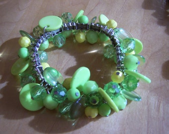 Lime Green Beaded Chacha Bracelet