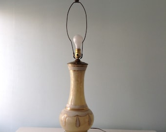 Mid Century Genie Bottle Glass Lamp, cream, gold, white, vintage glass lamp, large lamp