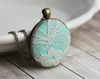 Mint Necklace, Pastel Jewelry, Unique Bridesmaid Gift, Wedding, Ivory, Light Green Lace Pendant