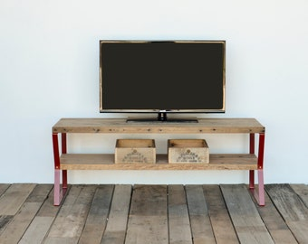 Reclaimed wood media tv stand with handcrafted zig zag legs in choice of sizes or finishes ; red legs shown