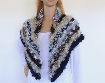 Black Knit Cape , Triangle black Shawl , Hand knit shawl, hand knitted wrap, Knit Poncho