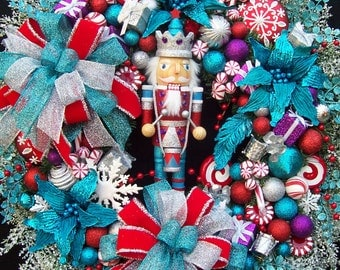 Lg. NUTCRACKER CHRISTMAS WINTER Wreath Turquoise Red Silver