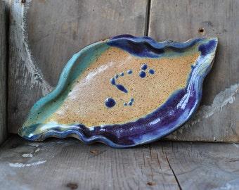 Stoneware Leaf Tray