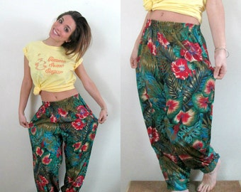 Tropical Print Harem Pants Vintage 1980s Grunge Summer
