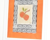 Sale - Bright Oranges Kitchen Wall Hanging - Cross Stitch Embroidery & Lace Decor - Gift Idea - Vintage 1970s Handmade - Matted/Framed