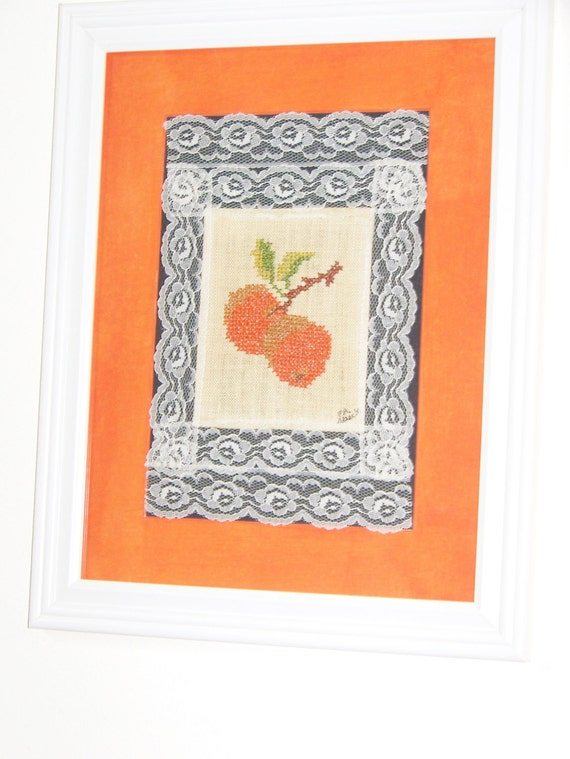 Cross Stitch Oranges Kitchen Wall Hanging - Embroidery & Lace Decor - Gift for Mom/Grandma - Vintage 1970s Handmade - Matted/Framed