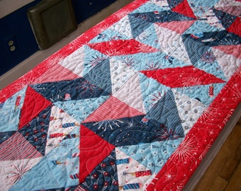 Patriotic Table Runner Red White Blue Stars Memorial Day Freedom Land of the Free Quilted Quiltsy Handmade Fireworks FREE U.S. Shipping