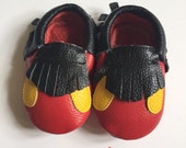Sale Children Mickey Mouse Moccasins Ready to ship, Moccs, Baby Moccs, Baby Moccasins Shoes, Toddler Shoes