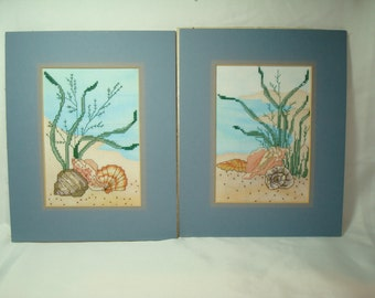 1988 Two Cross Stitched Ocean Sea with Shells Art Work.