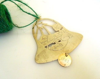 Vintage Brass Ornament, Christmas Ornament, Bell with Angel & Manger, 1983
