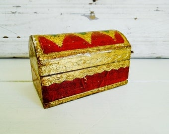 Vintage Florentine Jewelry Mini Chest, Small Box, Red Gold & Green, Made in Italy