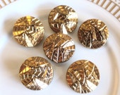 Antique Vintage Czech's Buttons, Black with Gold Leaf Pattern Buttons, 1930's, Glass Buttons, Self shanks, Beautiful Buttons, 6 in lot