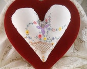 Heart Pillow Vintage Upcycled Embroidery Cockatoo Flower Basket