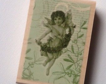 Angel Collage // Rubber Stamp // Inkadinkado Christmas wood mounted rubber stamp // Ready to Ship