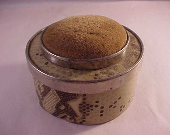 Tin Pin Cushion Box With Mirror Under Cover