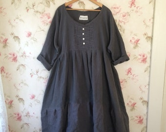 Gray Linen Dress  Washed Linen Long Prairie Dress Lagenlook  Ready To Ship One Size
