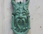 Cast iron Door knocker Forest Man Jade green Garden gate face Gothic Leaf leaves