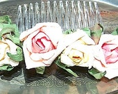 English Rose Paper Hair Comb Wedding Accessory