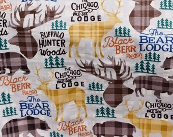Pajama lounge pants dorm lounge flannel made to order your choice size XS - 2X plaid print with deer, bison, bear and elk hunting lodge