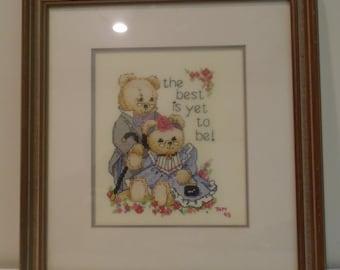 Teddy Bear cross stitch custom framed anniversary gift