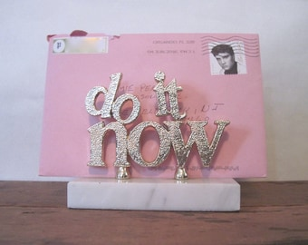 DO IT NOW, vintage Italian Marble & Gold Envelope Holder,  1970-80s Kitschy Paperweight + Desk Organizer
