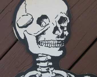 Vintage Jointed Beistle Hanging Die Cut Skeleton, 55 Inches Long, 1950s