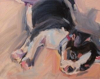 Terrier, Father's Day, Dog Portrait, Puppy painting, Rat Terrier, Boston Terrier, Original oil, Pet portrait, nursery art, 6x6, gift idea