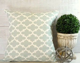 Soft Blue Quatrefoil - Blue and White Pillow Cover - Robins Egg Blue Pillow - Shabby Cottage Chic