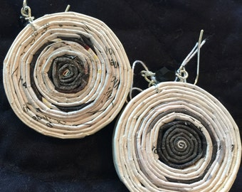 """n. 49 BLACK & WHITE  round coiled recycled paper pierced earrings with glass beads measure 1.5"""""""