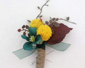 Groom, Groomsmen Wedding Boutonniere - Yellow Billy Button Boutonniere, Teal Dogwood Flower, Twine Wrapped, Country Chic Boutonniere