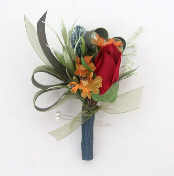Cork Boutonniere: Groom Groomsmen Wedding Boutonniere Red Rose Boutonniere